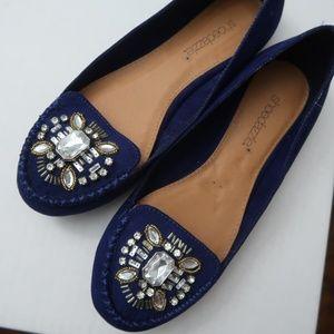 Cobalt Blue Suede Embellished Crystal Flats